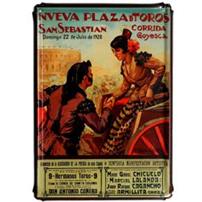 Ref: 312 - Placa Metálica - Cartel antiguo ¨Nueva Plaza de Toros - Corrida  Goyesca¨ Año 1928 - San Sebastian